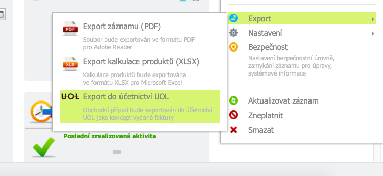 Export do účetnictví UOL