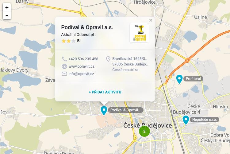Detail klienta na mapě