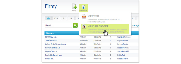 Export do MailChimpu