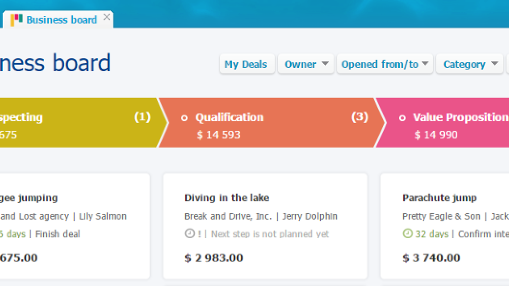 Business dashboard now brings a new view on open Business deals